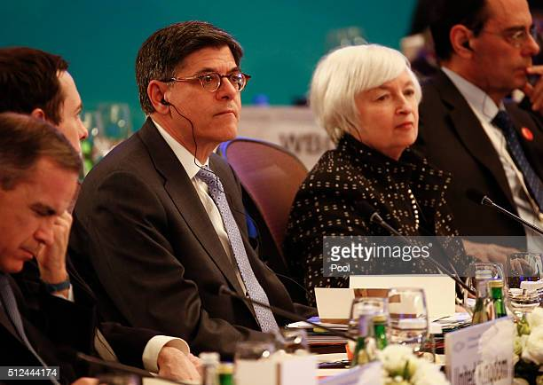 Treasury Secretary Jacob Lew and US Federal Reserve Board Chair Janet Yellen attend the G20 Finance Ministers and Central Bank Governors Meeting at...