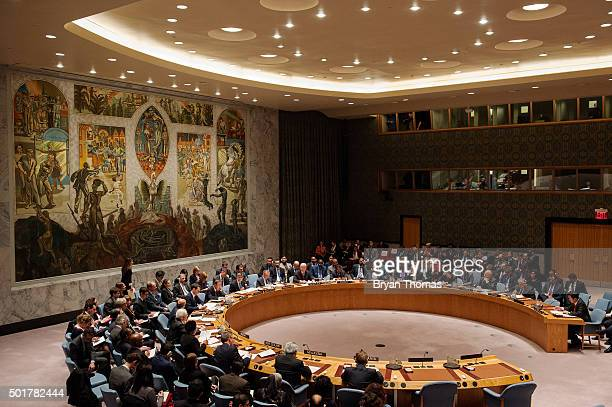 Treasury Secretary Jacob Lew chairs a United Nations Security Council session to discuss the financing of terrorism on December 17 2015 in New York...