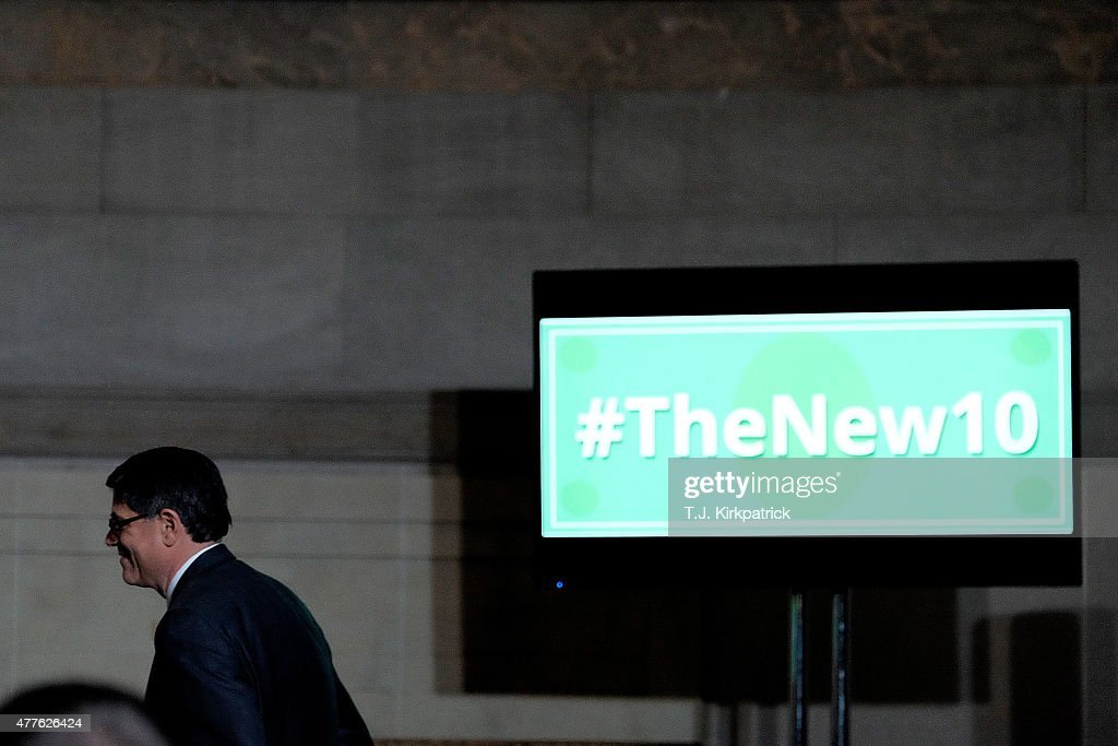 S Treasury Secretary Jacob Lew heads to the podium to speak about the upcoming currency redesign during a press conference at the National Archives...