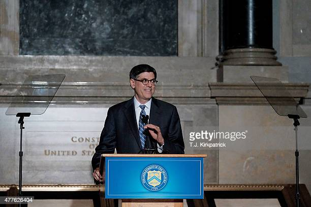 S Treasury Secretary Jacob Lew speaks about the upcoming currency redesign during a press conference at the National Archives on June 18 2015 in...
