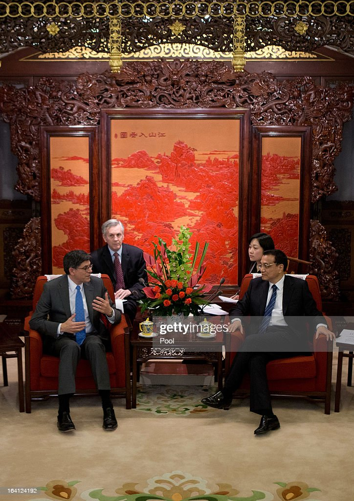 U.S. Treasury Secretary Jacob Lew (L) talks with Chinese Premier Li Keqiang (R) during their meeting at the Zhongnanhai diplomatic compound on March 20, 2013 in Beijing, China. The U.S. Treasury Secretary is in China for wide-ranging talks with Chinese President Xi Jinping and Chinese Premier Li Keqiang over the global economy, the exchange rate, trade, cyber-security and North Korea's nuclear programme. US Treasury secretary Jacob Lew met with the newly-elected President of China on Tuesday, Xi Jinping's first meeting with a foreign official since being appointed.