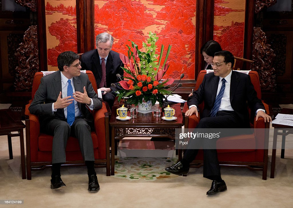 U.S. Treasury Secretary Jacob Lew (L) talks with Chinese Premier <a gi-track='captionPersonalityLinkClicked' href=/galleries/search?phrase=Li+Keqiang&family=editorial&specificpeople=2481781 ng-click='$event.stopPropagation()'>Li Keqiang</a> (R) during their meeting at the Zhongnanhai diplomatic compound on March 20, 2013 in Beijing, China. The U.S. Treasury Secretary is in China for wide-ranging talks with Chinese President Xi Jinping and Chinese Premier <a gi-track='captionPersonalityLinkClicked' href=/galleries/search?phrase=Li+Keqiang&family=editorial&specificpeople=2481781 ng-click='$event.stopPropagation()'>Li Keqiang</a> over the global economy, the exchange rate, trade, cyber-security and North Korea's nuclear programme. US Treasury secretary Jacob Lew met with the newly-elected President of China on Tuesday, Xi Jinping's first meeting with a foreign official since being appointed.