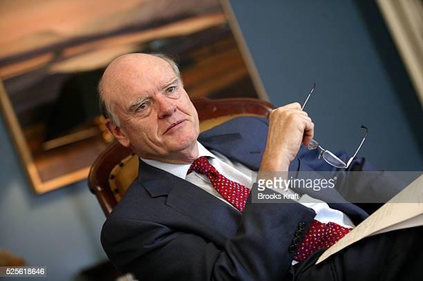 Treasury Secretary John Snow sits in his Washington DC office