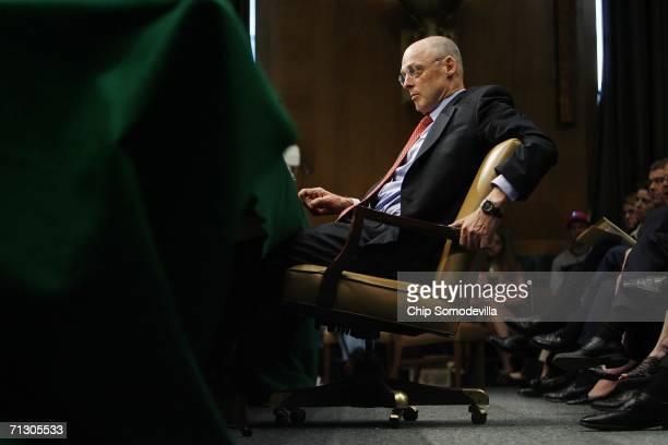 Treasury Secretary nominee Henry M Paulson Jr testifies during his confirmation hearing on Capitol Hill June 27 2006 in Washington DC Paulson...