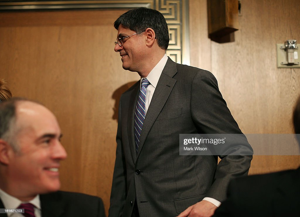 Treasury Secretary nominee Jack Lew arrives at his confirmation hearing before the Senate Finance Committee, February 13, 2013 in Washington, DC. If confirmed by the U.S. Senate Mr. Lew will replace Tim Geithner as Treasury Secretary.