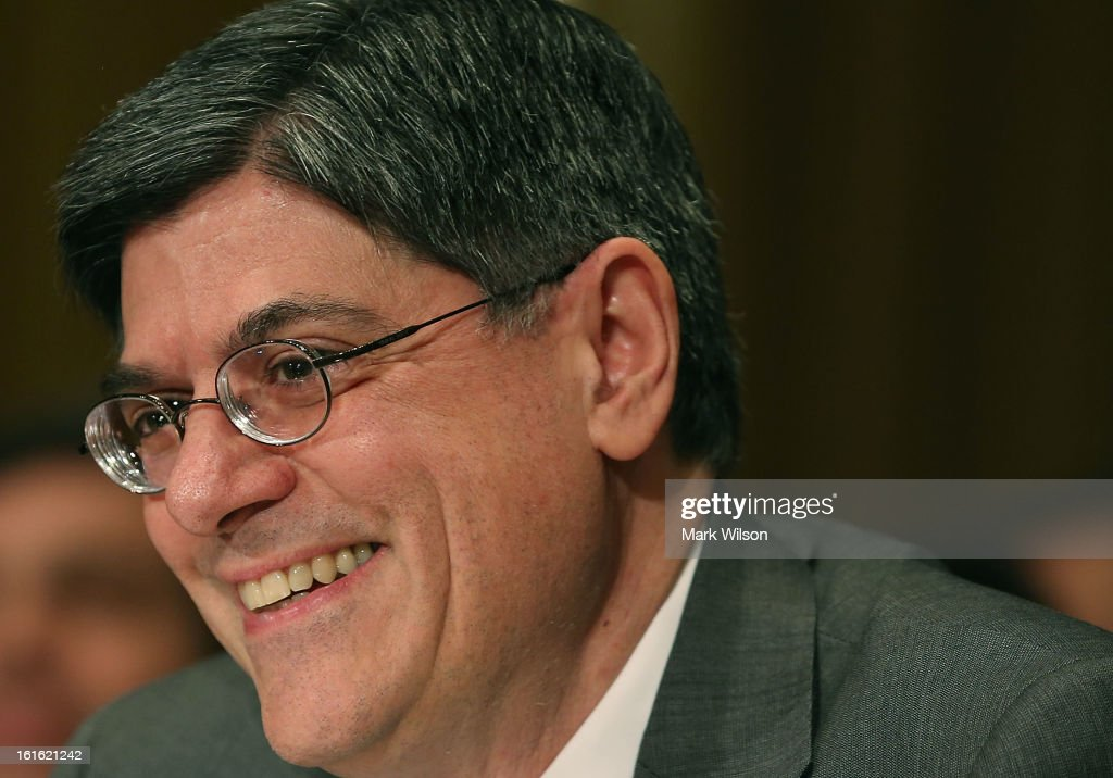 Treasury Secretary nominee Jack Lew smiles during his confirmation hearing before the Senate Finance Committee, February 13, 2013 in Washington, DC. If confirmed by the U.S. Senate Mr. Lew will replace Tim Geithner as Treasury Secretary.