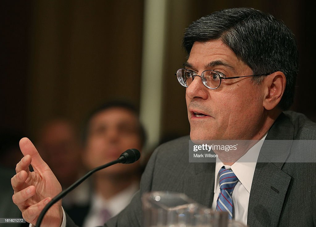 Treasury Secretary nominee Jack Lew speaks during his confirmation hearing before the Senate Finance Committee, February 13, 2013 in Washington, DC. If confirmed by the U.S. Senate Mr. Lew will replace Tim Geithner as Treasury Secretary.