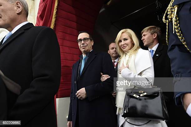S Treasury Secretary nominee Stephen Mnuchin and fiancee Louise Linton arrive for the Presidential Inauguration of Donald Trump at the US Capitol on...