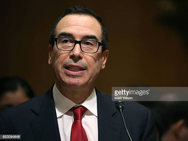 Treasury Secretary nominee Steven Mnuchin testifies during his Senate Finance committee confirmation hearing on Capitol Hill on January 19 2017 in...