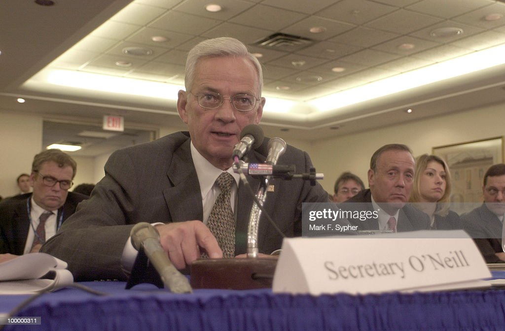 Treasury Secretary Paul O'neil testifies before the Senate Banking Committee on Wednesday.