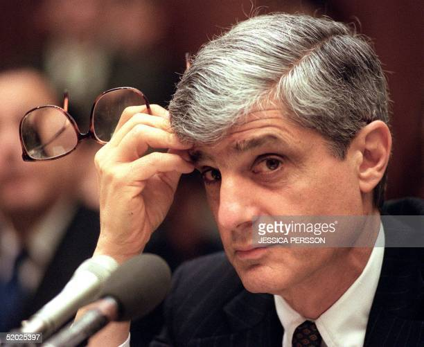 Treasury Secretary Robert Rubin listens to a question during his testimony before the House Banking Committee 30 January on Capitol Hill in...