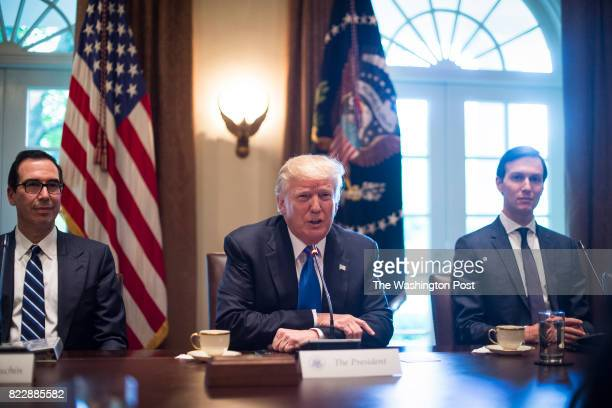 Treasury Secretary Steve Mnuchin President Donald Trump and White House Senior Adviser Jared Kushner participate in a meeting with Lebanese Prime...