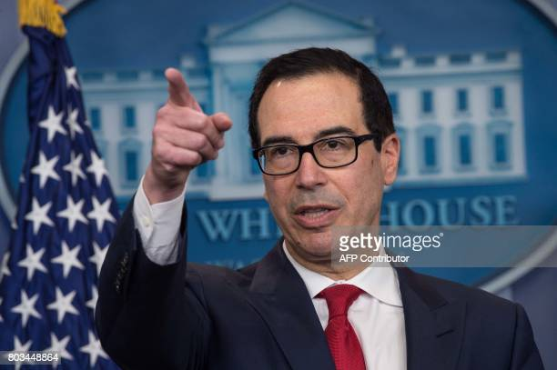 US Treasury Secretary Steve Mnuchin speaks during the press briefing at the White House in Washington DC on June 29 2017 The US Treasury Department...