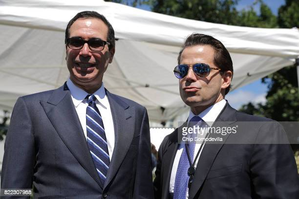 Treasury Secretary Steven Mnuchin and incoming White House Communications Diretor Anthony Scaramucci talk with reporters during 'Regional Media Day'...