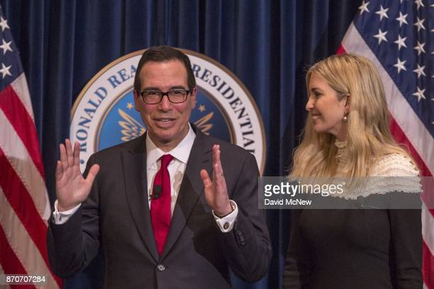 S Treasury Secretary Steven Mnuchin and Ivanka Trump appear at the Ronald Reagan Presidential Library where they talked about tax cuts and reform on...