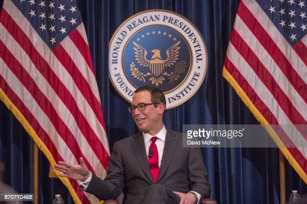 S Treasury Secretary Steven Mnuchin appears at the Ronald Reagan Presidential Library where to talk about tax cuts and reform on November 5 2017 in...