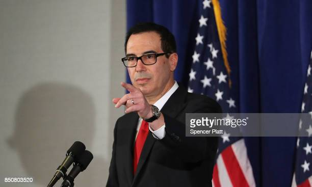 Treasury Secretary Steven Mnuchin holds a news conference on September 21 2017 in New York City The Treasury Secretary discussed increased sanctions...