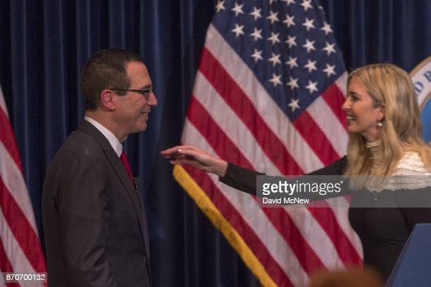 S Treasury Secretary Steven Mnuchin is greeted by Ivanka Trump at the Ronald Reagan Presidential Library where they talked about tax cuts and reform...