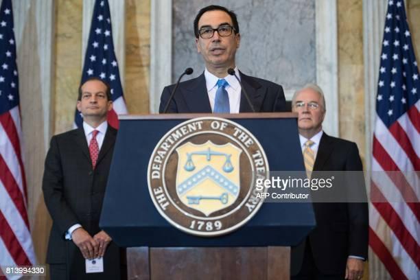 US Treasury Secretary Steven Mnuchin speaks as Health and Human Services Secretary Tom Price and Labor Secretary Alexander Acosta look on during a...