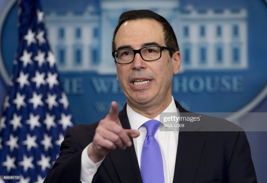 Treasury Secretary Steven Mnuchin speaks during the daily press briefing in the Brady Press Briefing Room of the White House in Washington, DC on February 14, 2017. / AFP / SAUL