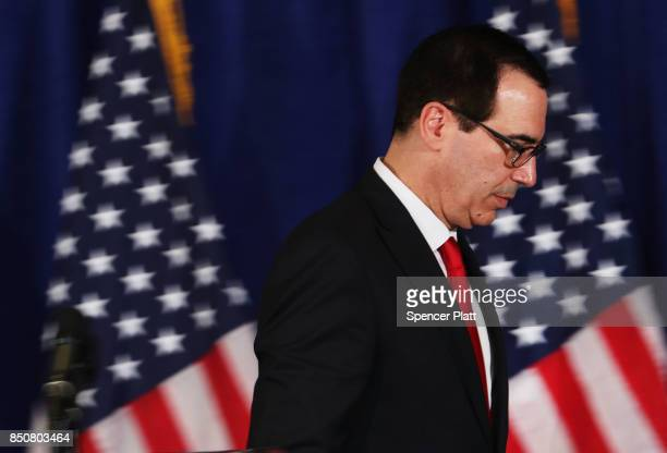 Treasury Secretary Steven Mnuchin walks off the podium following a news conference on September 21 2017 in New York City The Treasury Secretary...
