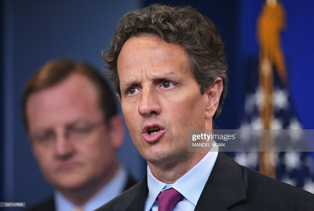 US Treasury Secretary Tim Geithner speaks as White House Press Secretary Robert Gibbs (L) looks on June 16, 2010 during a briefing in the Brady Briefing Room of the White House in Washington, DC. AFP PHOTO/Mandel NGAN