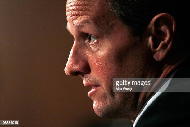 S Treasury Secretary Timothy Geither testifies during a hearing before the Financial Crisis Inquiry Commission May 6 2010 on Capitol Hill in...
