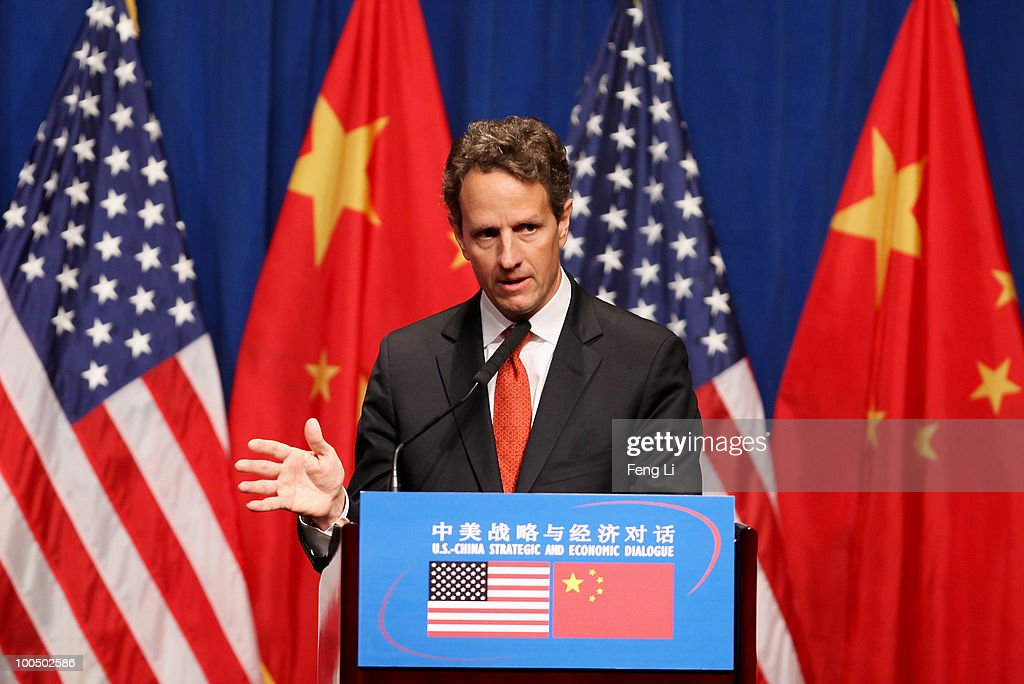 U.S. Treasury Secretary Timothy Geithner attends U.S. Delegation Press Conference following the China-U.S. Strategic and Economic Dialogue (S&ED) on May 25, 2010 in Beijing, China. Hillary Clinton called upon Beijing to back international pressure against North Korea following the sinking of a South Korean warship, and to seek greater stability in the region.