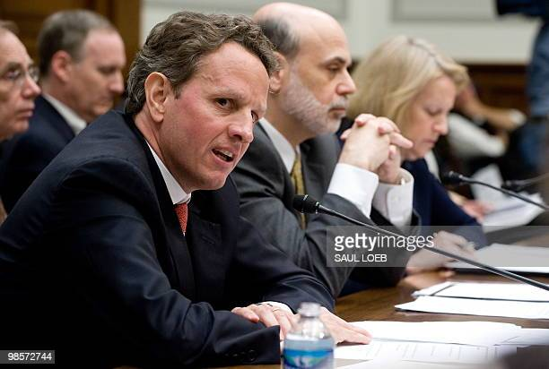 US Treasury Secretary Timothy Geithner Chairman of the Federal Reserve Board Ben Bernanke and Securities and Exchange Commission Chair Mary Schapiro...