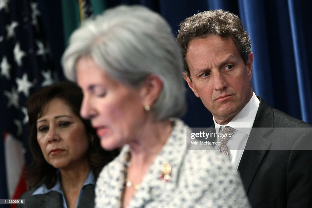 U.S. Treasury Secretary Timothy Geithner (R), Health and Human Services Secretary Kathleen Sebelius (C) and Labor Secretary Hilda Solis (R) hold a briefing to release Social Security and Medicare trustees reports at the Treasury Department April 23, 2012 in Washington, DC. The reports project that, when considered on a combined basis, Social Security's retirement and disability programs have dedicated funds sufficient to cover benefits for the next 20 years, but in 2033, incoming revenues and trust fund resources will be insufficient to maintain payment of full benefits.