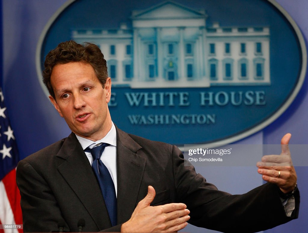 U.S. Treasury Secretary <a gi-track='captionPersonalityLinkClicked' href=/galleries/search?phrase=Timothy+Geithner&family=editorial&specificpeople=5087853 ng-click='$event.stopPropagation()'>Timothy Geithner</a> holds a news briefing at the White House April 14, 2010 in Washington, DC. Geithner talked about a bipartisan meeting between President Barack Obama and Congressional leaders about the economy, jobs and proposed financial reform legislation.