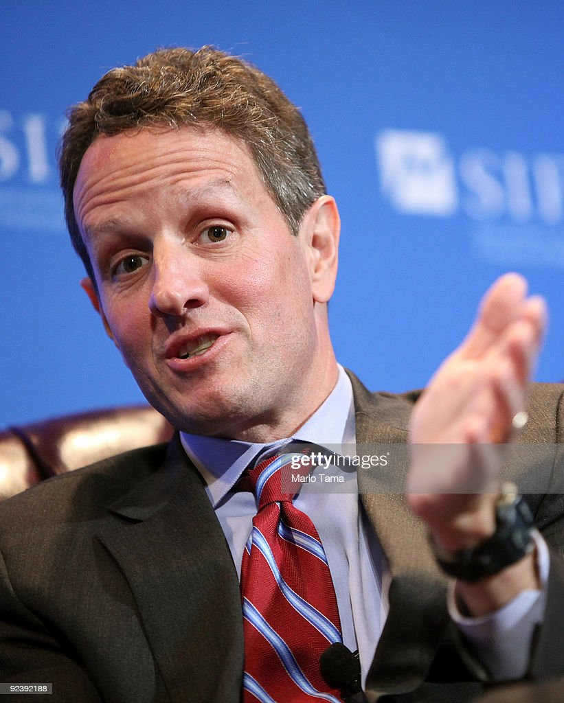 U.S. Treasury Secretary <a gi-track='captionPersonalityLinkClicked' href=/galleries/search?phrase=Timothy+Geithner&family=editorial&specificpeople=5087853 ng-click='$event.stopPropagation()'>Timothy Geithner</a> is interviewed by Charlie Rose (Not Pictured) at the Securities Industry and Financial Markets Association annual meeting October 27, 2009 in New York City. The Treasury Department and a senior House Democrat have come to an agreement to not force financial firms considered 'too big to fail' to pay upfront dismantling costs should they fail in the future.