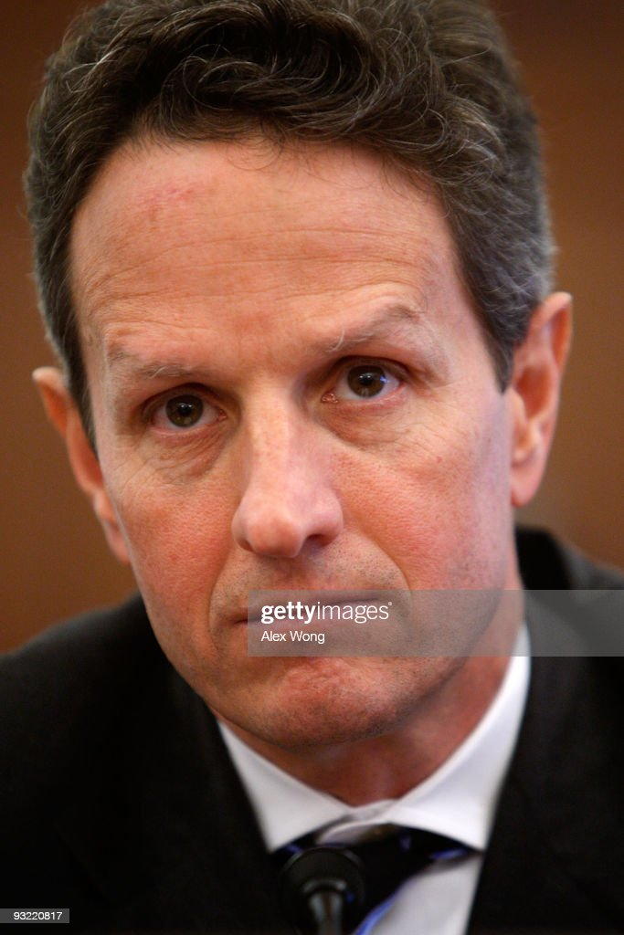 S Treasury Secretary Timothy Geithner listens during a hearing before the Joint Economic Committee on Capitol Hill November 19 2009 in Washington DC...