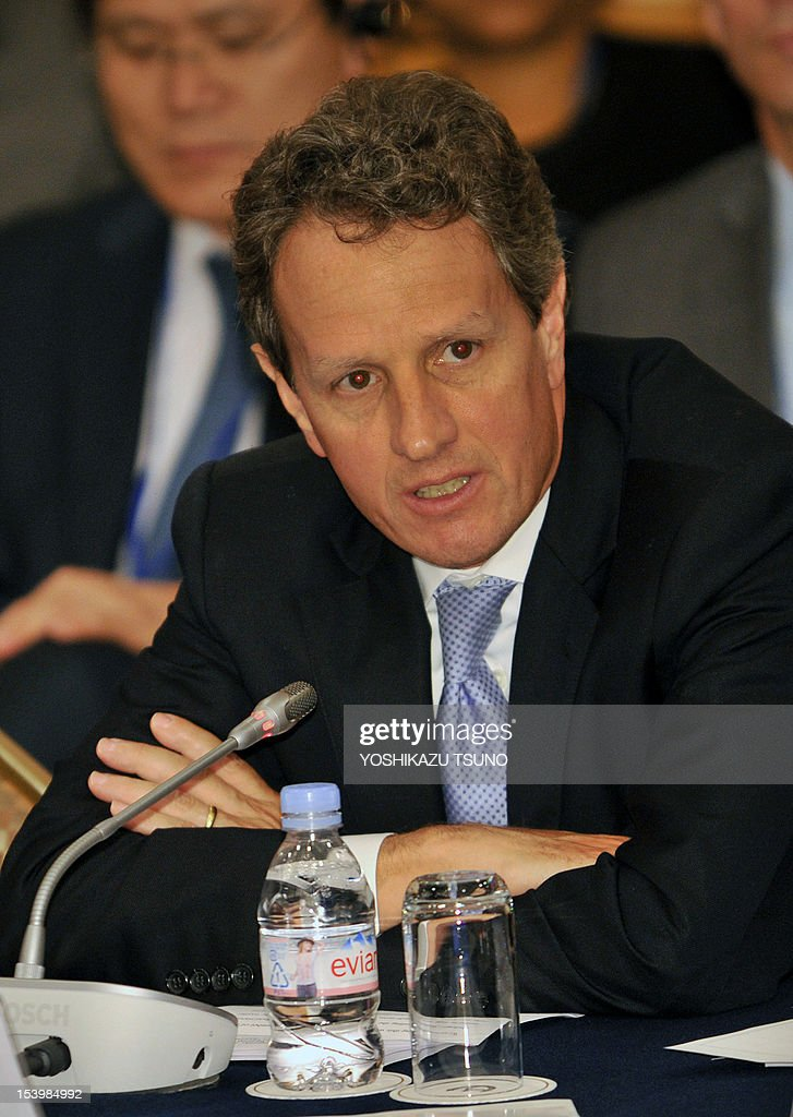 US Treasury Secretary Timothy Geithner speaks at a high level meeting on the Global Agriculture and Food Security Program (GAFSP) in Tokyo on October 12, 2012 on the sidelines of the annual meetings of the International Monetary Fund and the World Bank in Tokyo on October 11, 2012. Heads of the IMF and World Bank are meeting in Japan from October 9 to 14. AFP PHOTO / Yoshikazu TSUNO
