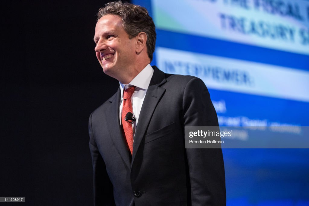 S Treasury Secretary Timothy Geithner speaks at the 2012 Fiscal Summit on May 15 2012 in Washington DC The third annual summit held by the Peter G...