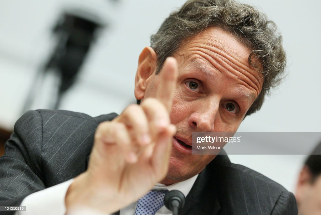 S Treasury Secretary Timothy Geithner speaks during a House Financial Services Committee hearing on September 22 2010 in Washington DC The committee...