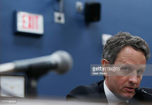 Treasury Secretary Timothy Geithner speaks during a House Small Business Committee hearing on Capitol Hill June 22 2011 in Washington DC The...