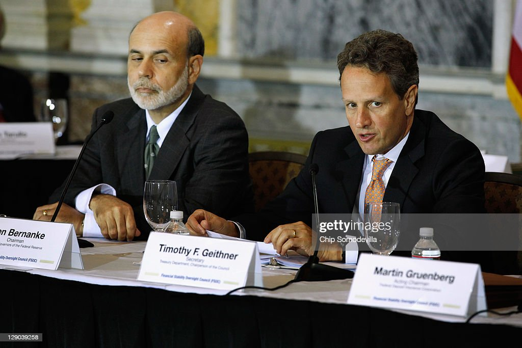 S Treasury Secretary Timothy Geithner speaks during an open meeting of the Financial Stability Oversight Council with Federal Reserve Board Chairman...