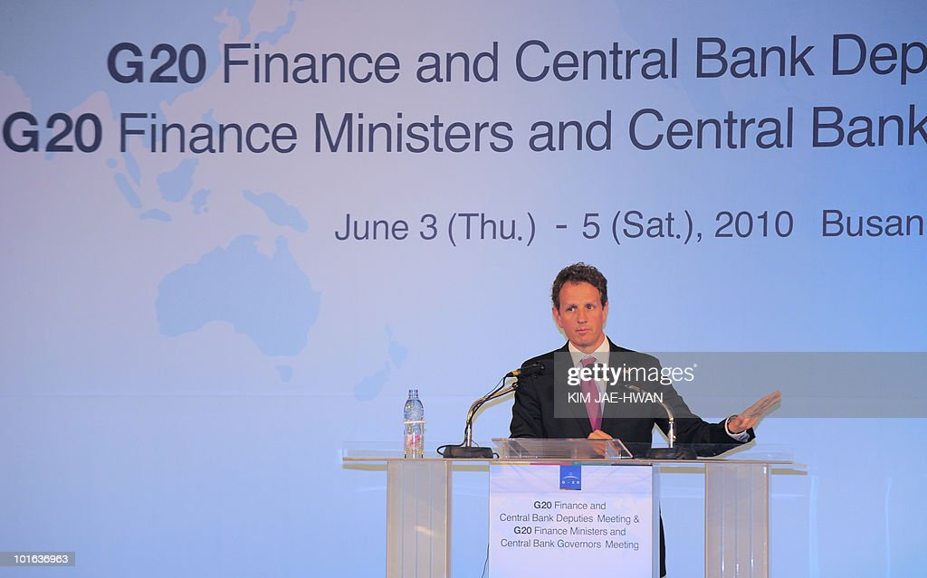 US Treasury Secretary Timothy Geithner speaks to the media during the press conference of the G20 Finance Ministers and Central Bank Governors meeting in Busan June 5, 2010. Market convulsions sparked by Europe's debt crisis show that major challenges remain to global economic recovery, G20 nations said Saturday as they vowed to fix their fiscal houses.