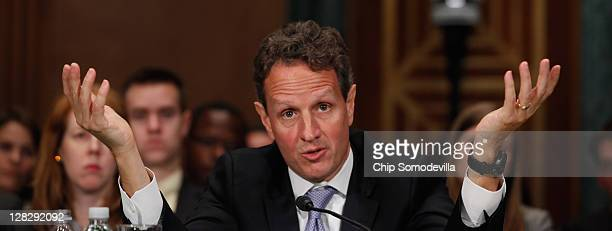 S Treasury Secretary Timothy Geithner testifies before the Senate Banking Housing and Urban Affiars Committee about the Financial Stability Oversight...