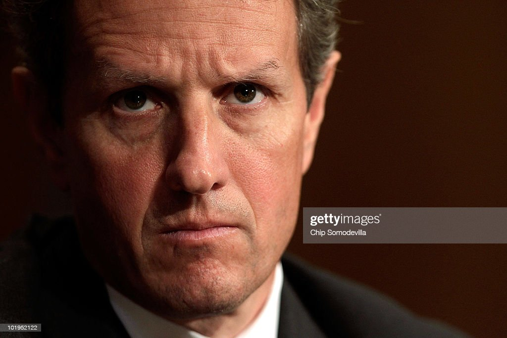 S Treasury Secretary Timothy Geithner testifies before the Senate Finance Committee on Capitol Hill June 10 2010 in Washington DC Geithner testified...