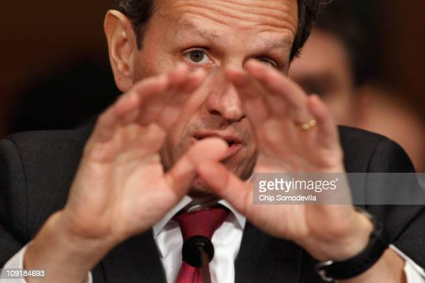 S Treasury Secretary Timothy Geithner testifies before the Senate Finance Committee on Capitol Hill February 16 2011 in Washington DC Geithner faced...