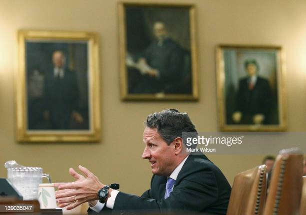 S Treasury Secretary Timothy Geithner testifies during a House Ways and Means Committee hearing on February 15 2012 in Washington DC Geithner...