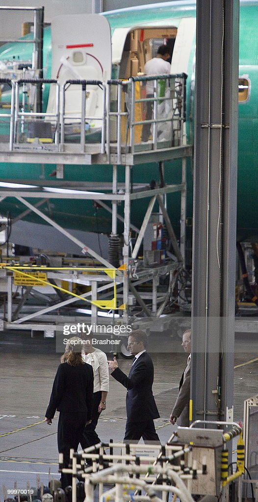 S Treasury Secretary Timothy Geithner tours the Boeing 737 plant May 18 2010 in Renton Washington Geithner was in town to tout the Obama...