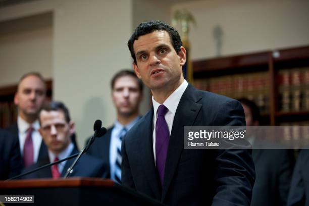 Treasury Under Secretary for Terrorism and Financial Intelligence David Cohen speaks during a news conference to announce money laundering charges...