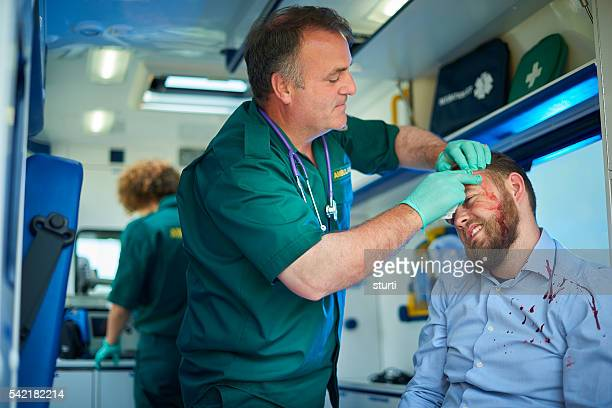 treating the casualty in an ambulance