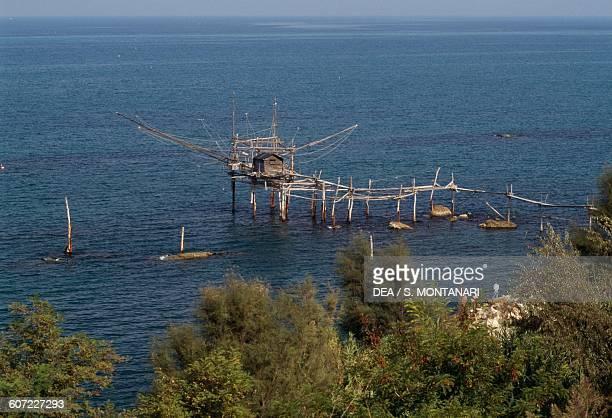 A trebuchet along the coast in San Vito Marina Abruzzo Italy