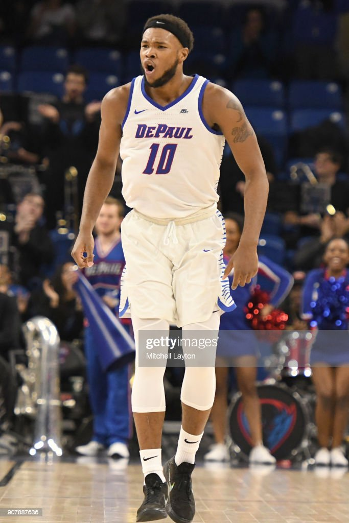 Tre'Darius McCallum #10 of the DePaul Blue Demons during a college basketball game against the Providence Friars at Wintrust Arena on January 12, 2018 in Chicago, Illinois. The Friars won 71-64.