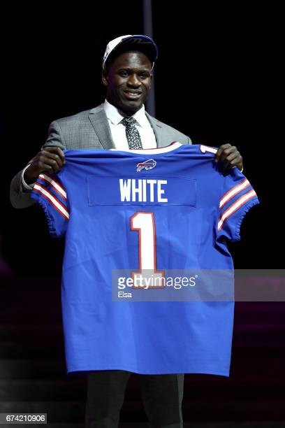 Tre'Davious White of LSU reacts after being picked overall by the Buffalo Bills during the first round of the 2017 NFL Draft at the Philadelphia...