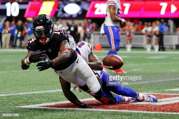 Tre'Davious White of the Buffalo Bills called for pass interference against Justin Hardy of the Atlanta Falcons during the second half at...
